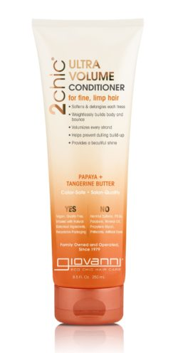 a bottle of Giovanni conditioner for thin hair